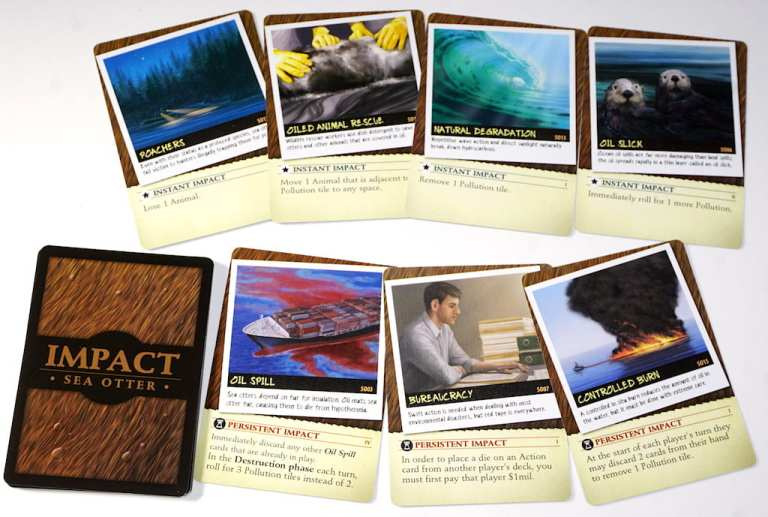 Endangered Impact cards for Sea Otters: Poachers, Oiled Animal Rescue, Natural Degradation, Oil Slick, Oil Spill, Bureaucracy, Controlled Burn