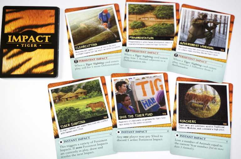 Endangered Impact cards for Tigers: Clearcutting, Fragmentation, Government Upheaval, Tiger Sighting, Save the Tiger Fund, Poachers