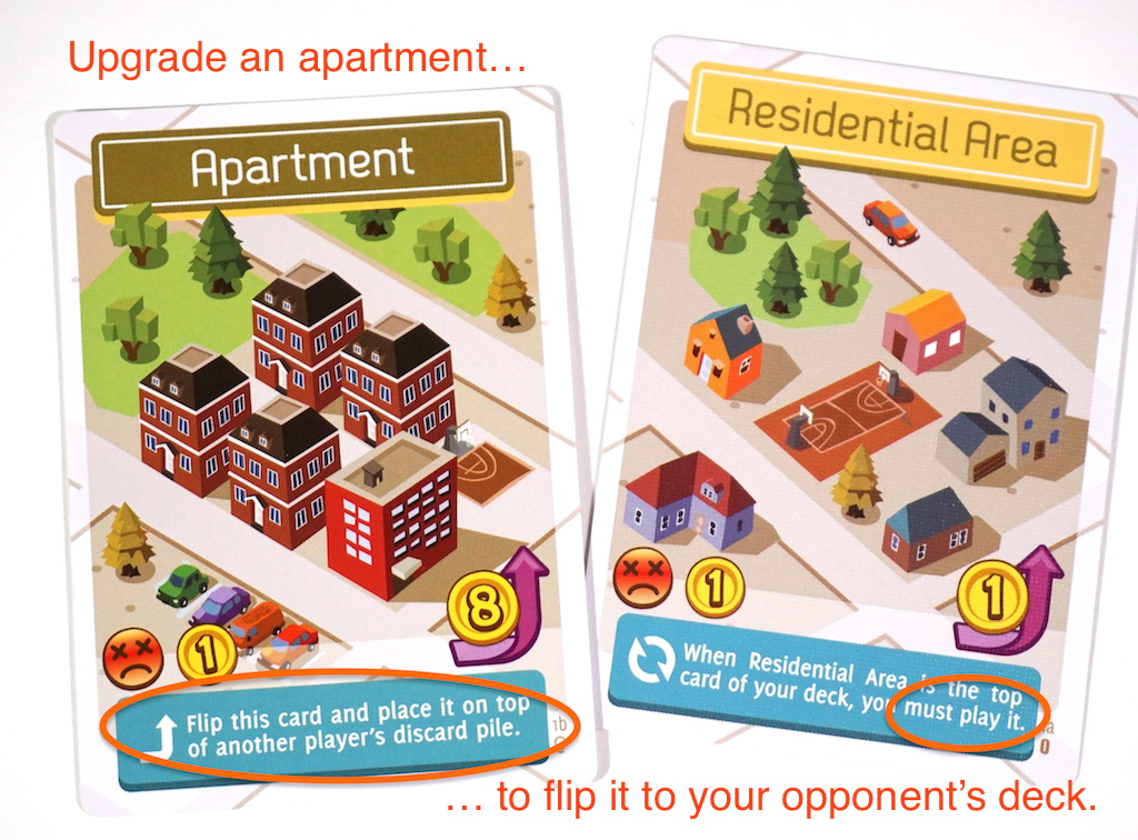 Flip City: Upgrade an apartment card to flip it to your opoonent's deck