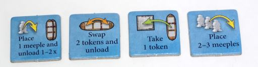 4 tokens: Place 1 meeple & unload 1-2x, Swap 2 tokens & unload, Take 1 token, Place 2-3 meeples
