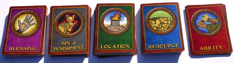 5 card decks: Blessing, Sin & Punishment, Location, Resource, Ability