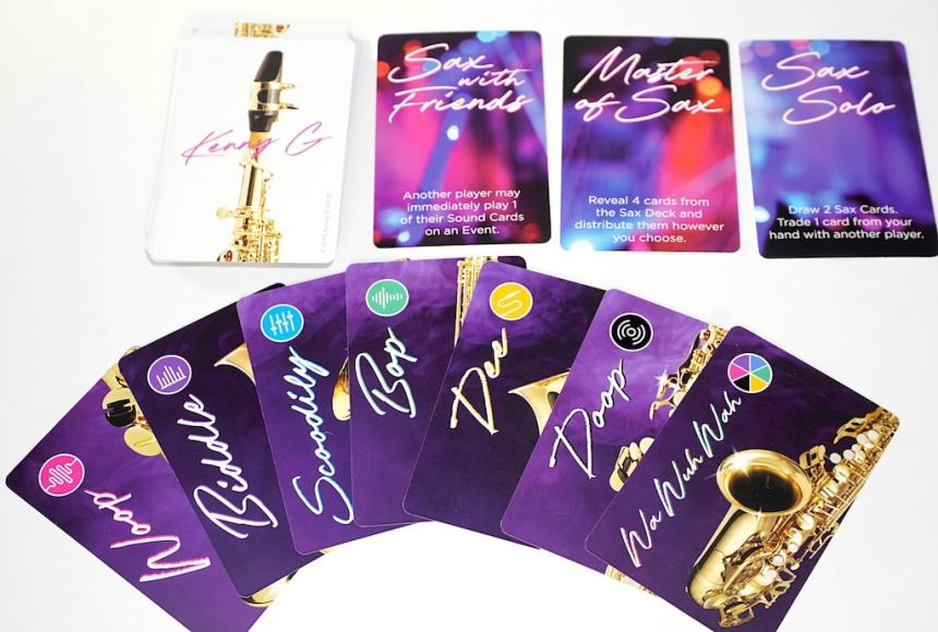 sound cards: Woop, Biddle, Scoodily, Bop, Dee, Doop, Wa Wuh Wah. Ability cards: Sax with Friends, Master of Sax, Sax Solo.