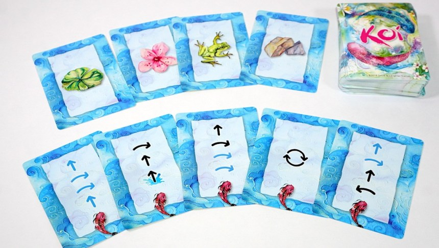 Two rows of KOI cards: top row is lily pad, blossom, frog, rocks, and the deck. Bottom row is an assortment of 5 movement cards.