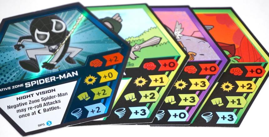 stack of Marvel Battleworld character cards: Negative Zone Spider-Man is visible.
