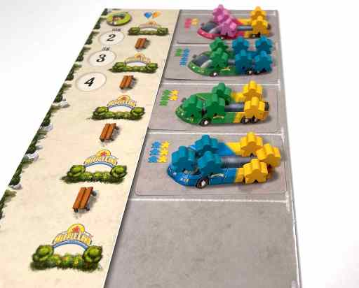 Meeples stacked on bus cards