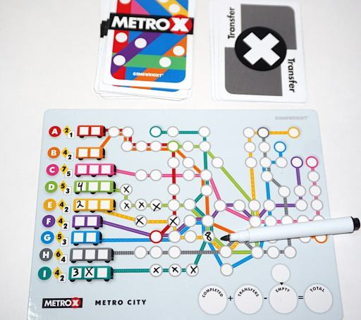 Metro X transfer card and board example