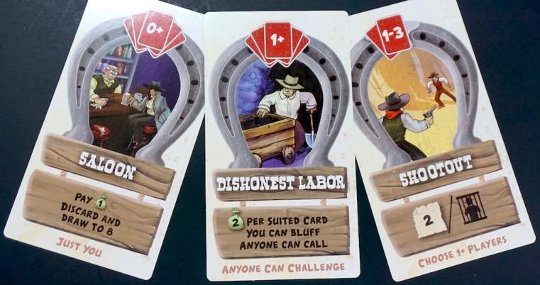 Action cards: Saloon, Dishonest Labor, Shootout