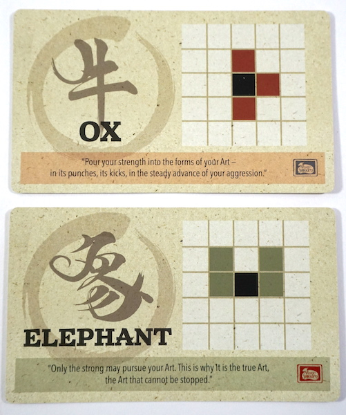 Onitama movement cards: Ox and Elephant