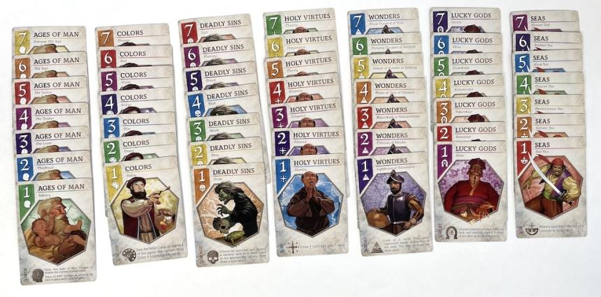 7 columns of cards with 7 cards in each: Ages of Man, Colors, Deadly Sins, Holy Virtues, Wonders, Lucky Gods, and Seas.