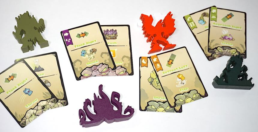Guardian meeples and cards from Skulk Hollow