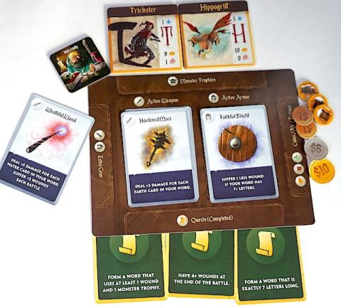 Spell Smashers player board, with weapon, armor, completed quests, coins, and monster trophies