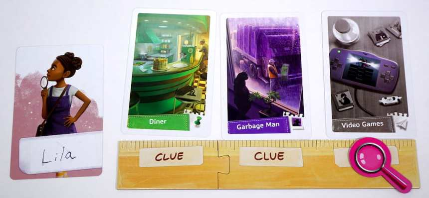 Lila the detective with three clue cards