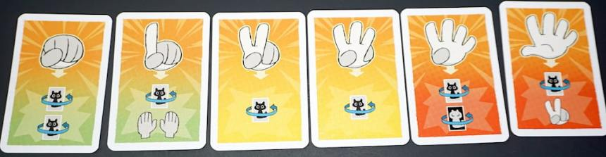 Cards with cartoon hands, showing 0-5 fingers