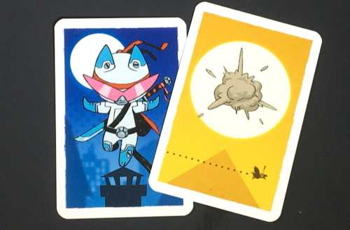Silver super hero cat card, Gold card showing a puff of smoke