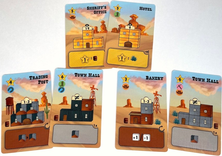 Sheriff's Office, Hotel, Trading Post, Town Hall, Bakery, Town Hall