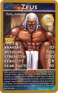 Top Trumps: Zeus card