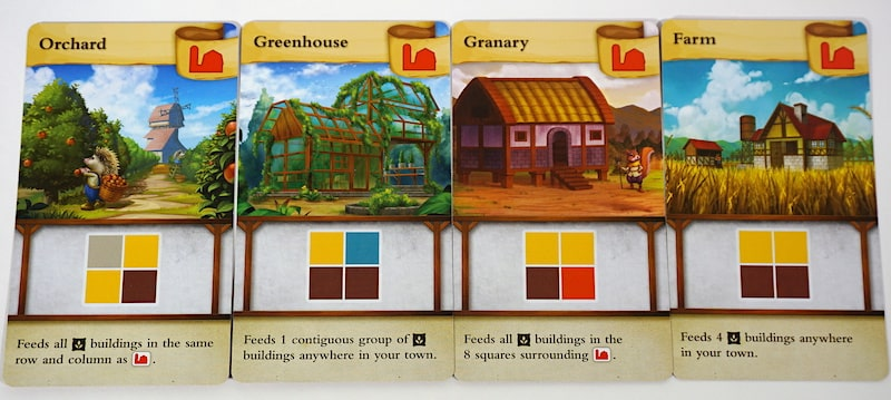 4 cards with red barn symbol: Orchard, Greenhouse, Granary, Farm.