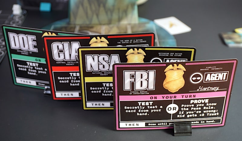 Agent cards: DOE, CIA, NSA, FBI