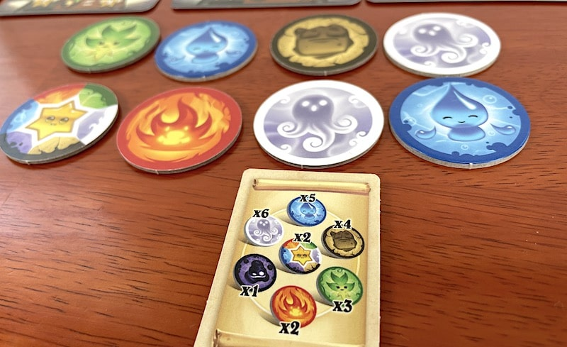 Animus tokens, from left to right: Leaf, Wildcard, Water, Fire, Earth, Air, Air, Water.