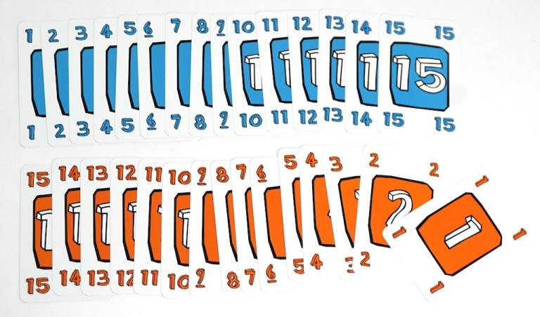 Blue cards numbered 1-15, orange cards numbered 1-15