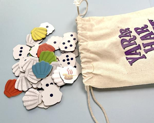 A bag of seashell tokens from Yarrr Har Hunt