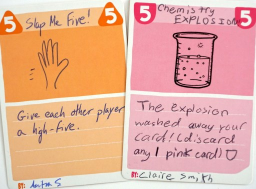 Hand-written BLANK cards: Slap Me Five! and Chemistry Explosion