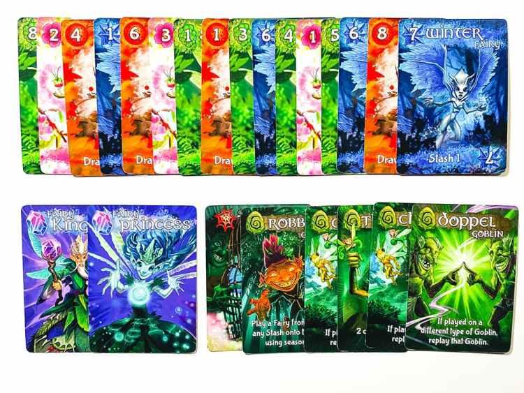 Fairy season score pile: 16 fairies, 2 royal fairies, plus traps and goblins.