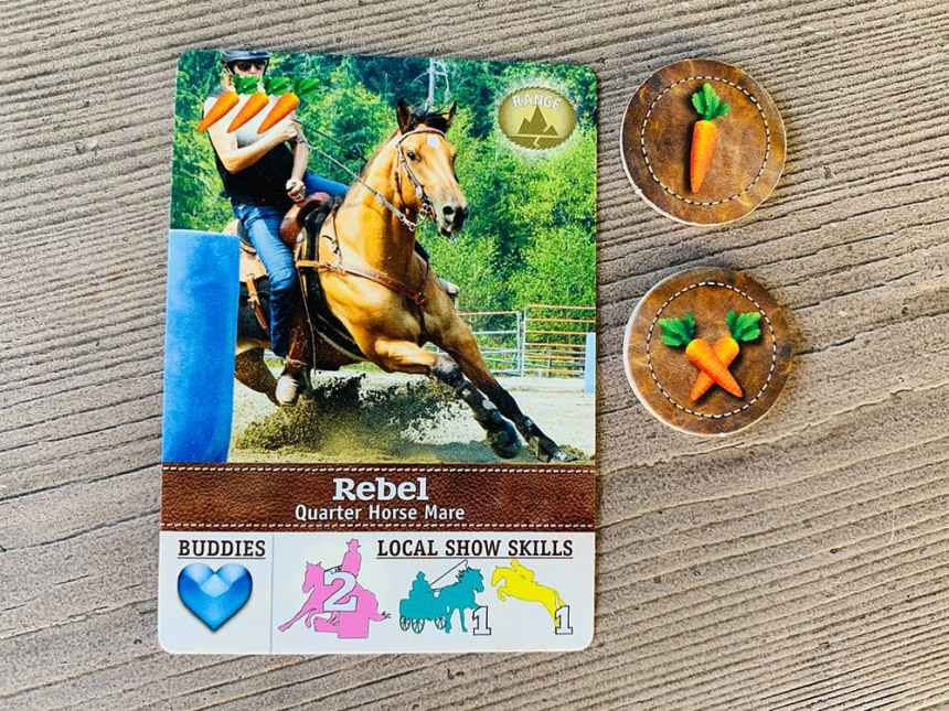 """Rebel"" Quarter Horse Mare. Pay 3 carrots. 3 different skill types shown."