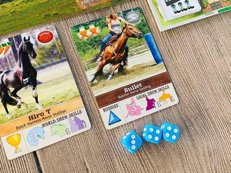 Bullet (Quarter Horse Gelding), shown with 3 dice