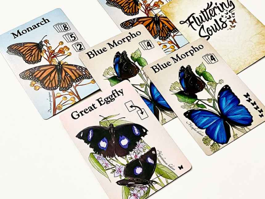 Fluttering Souls - the Great Eggfly blocks access to the Blue Morpho card underneath it.