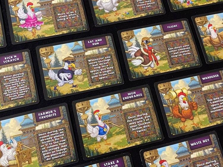 Power Cluck Cards: Kick N Scratch, Eat and Run, Flight, Farmer's Favorite, High Endurance, Wanderer, Waste Not