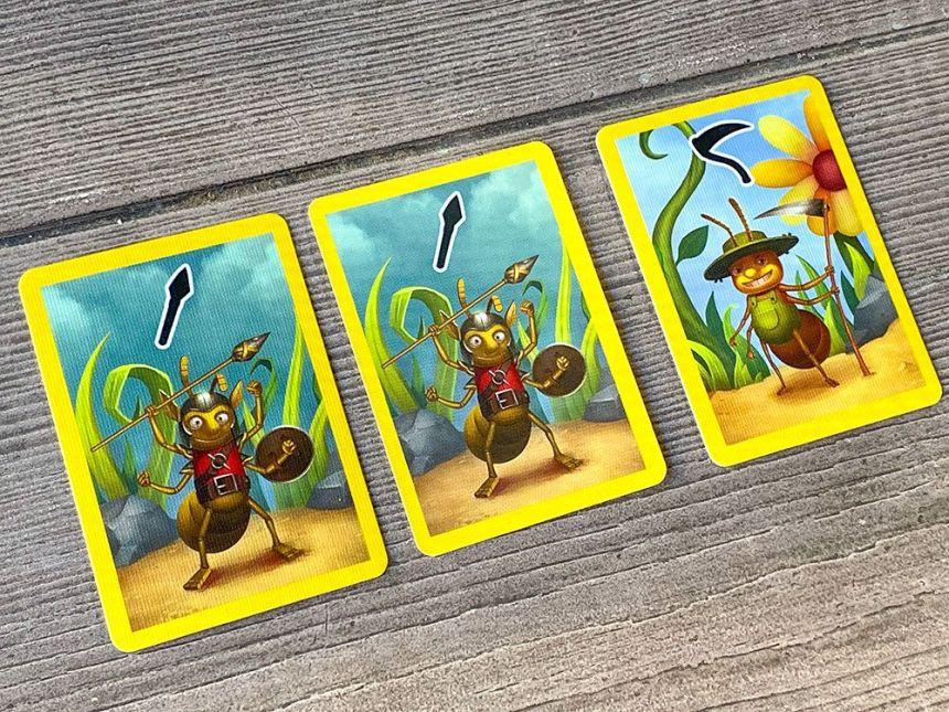 Mini BrilliAnts cards - two yellow hunter ants, yellow farmer ant