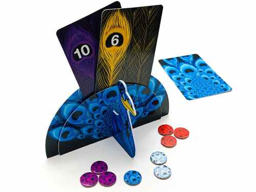 Blue peacock with 2 feather cards remaining