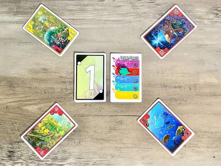 Sea Change trick taking game - yellow sluff card played
