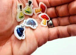 The Potion ingredients: beetles, mushrooms, vials
