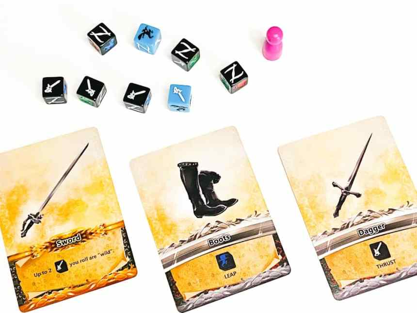 Pink pawn with dice showing 4 swords. Cards below give an additional sword symbol.