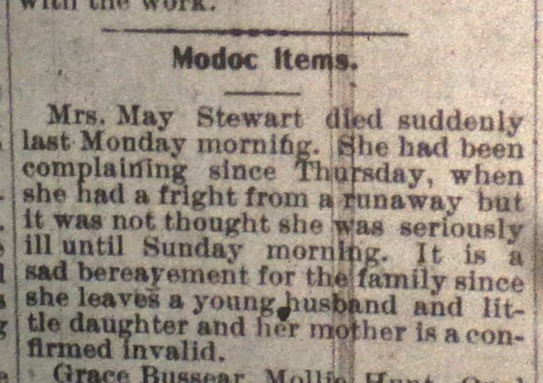 Death notice for May Stewart, April 1901.