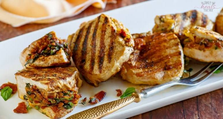 Gouda, Bacon, & Basil Stuffed Pork Chops