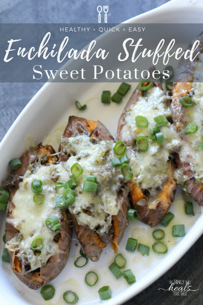 Enchilada Stuffed Sweet Potatoes- Fast, Easy, Healthy! | The Family That Heals Together