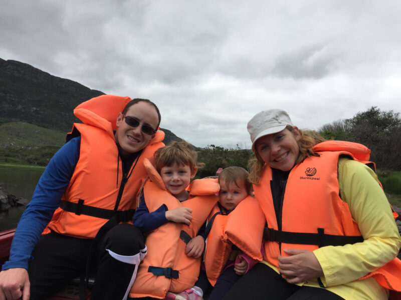Family in life vests in Killarney National Park