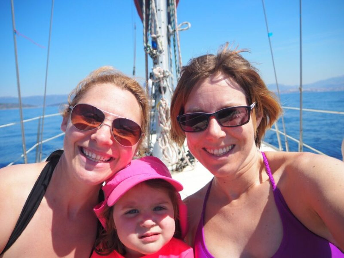 The girls relaxing during our sail with Opcija Tours
