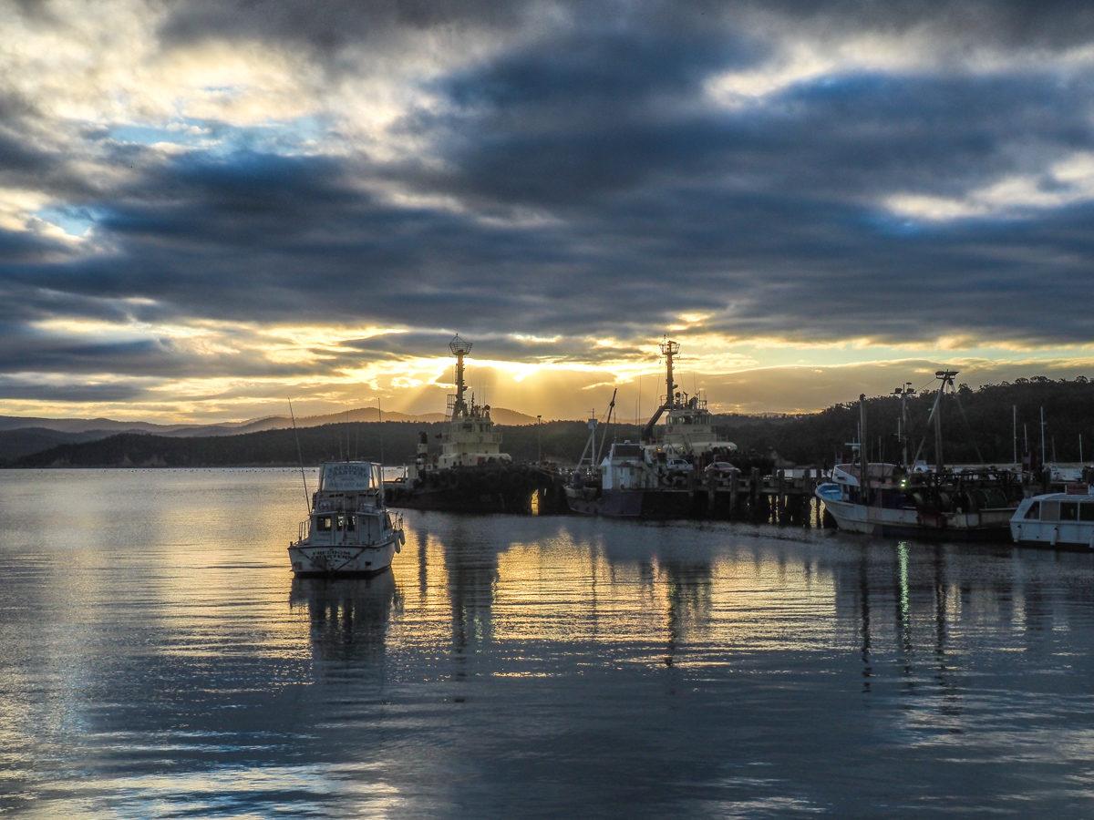 sunset in Eden, Australia - melbourne to sydney drive stopover