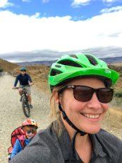 NZ cycle trail with WeeHoo tag along bike trailer