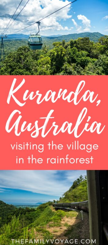 Are you looking for a once-in-a-lifetime experience on your trip to Queensland, Australia? Don't miss the Kuranda Skyrail and Kuranda Scenic Railway! You'll soar through the rainforest canopy and then steam back through gold miners' passes... all in a day's work. Click to find out more about this remarkable village in the rainforest. #Kuranda #Queensland #Australia #travel #familytravel #nature