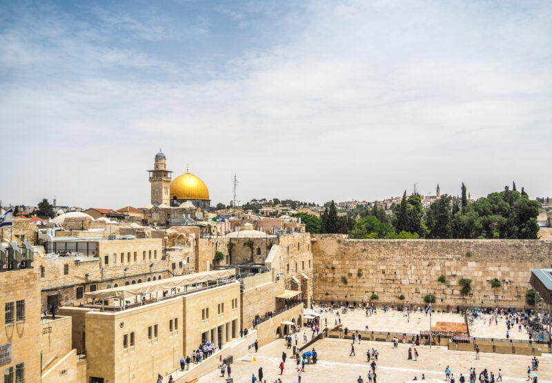 Old City of Jerusalem, Israel showing the Western Wall (kotel) and Dome of the Rock