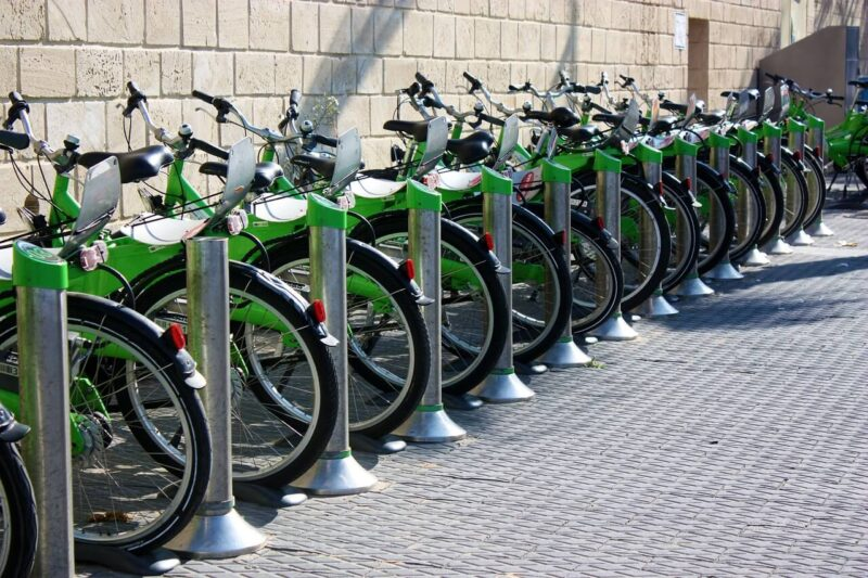 Rack of green bikes for bike sharing in Israel. #Israel #bikes #TelAviv