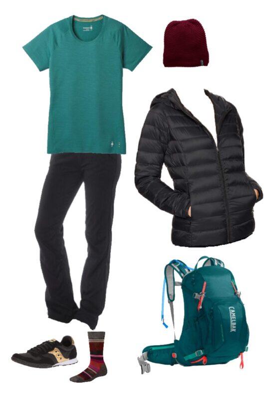 Cute winter hiking outfit #winter #capsulewardrobe