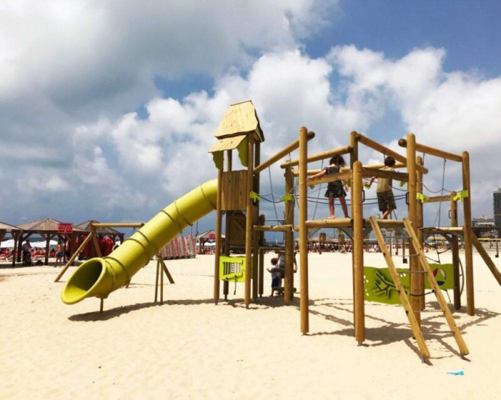 Bograshov beach playground in Tel Aviv #TelAviv #Israel #beach #playground
