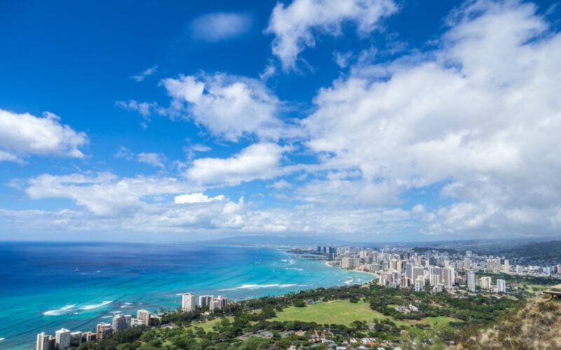 View from Diamond Head, Oahu, Hawaii