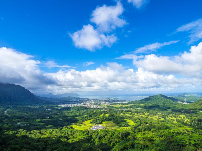 View of Windward Coast, Oahu, Hawaii from Pali Lookout